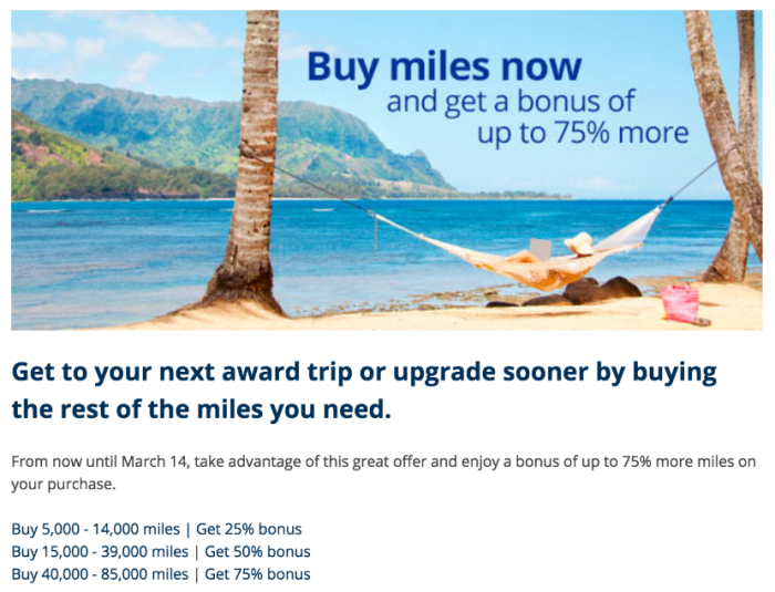 Earn up to a 75% bonus when you purchase United miles.