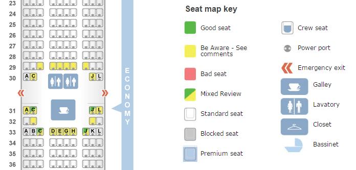 Make sure to use SeatGuru to avoid bad seats on your flight.