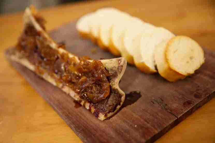 Bone marrow with sweet onions at Manolo Caracol.