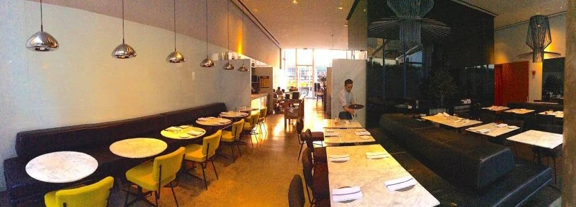 A shot of the hotel's main restaurant before dinner service began.