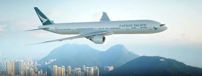Cathay Pacific plane over Hong Kong banner