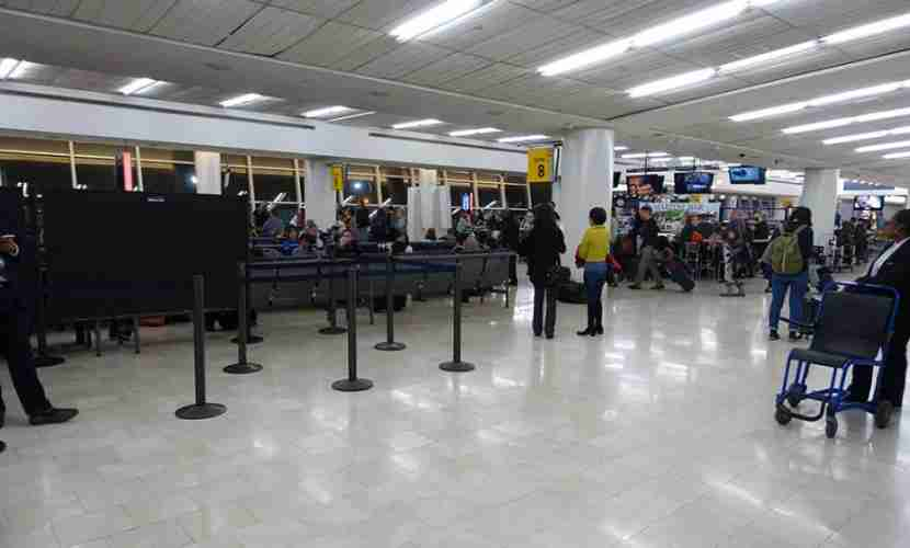 The boarding area, which was soon filled with a line of people down the middle of the terminal.