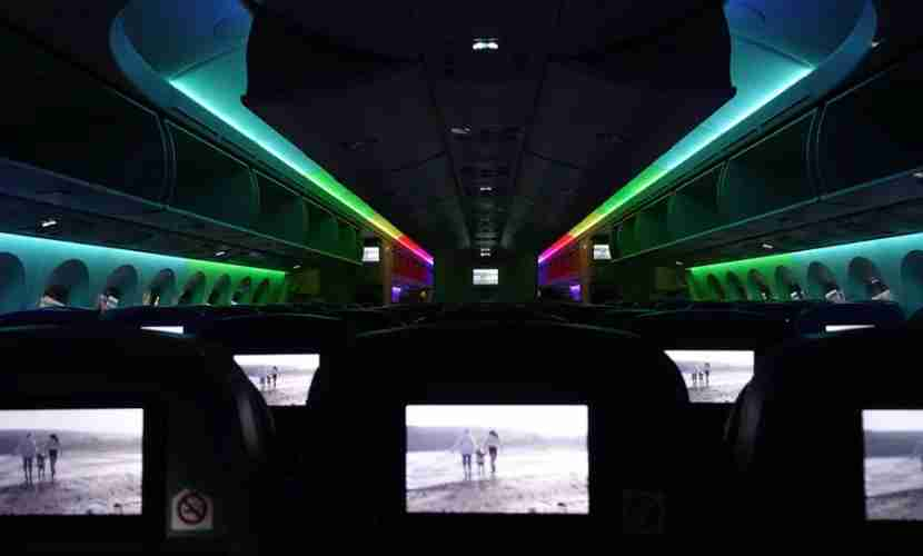 There are in-flight entertainment screens on every seatback in economy — except for the bulkhead seats.