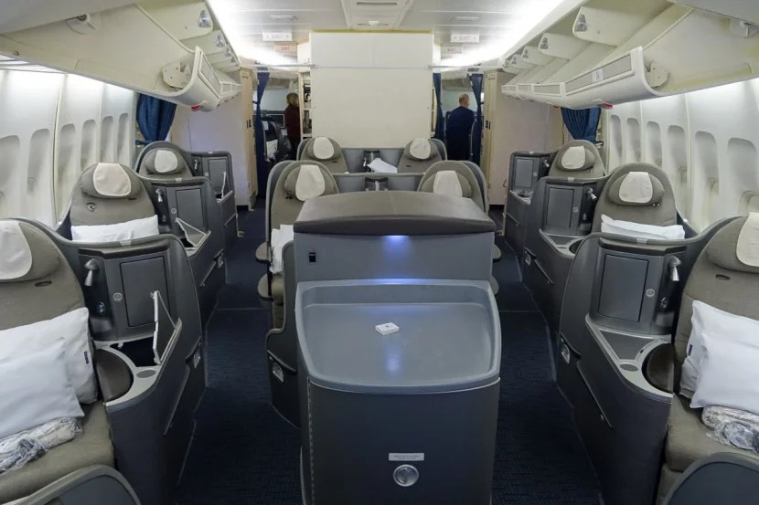 United's 747 first-class cabin.