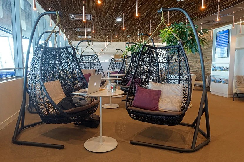 Some of the many seating options at the Cap Ferrat Lounge at Nice Airport.