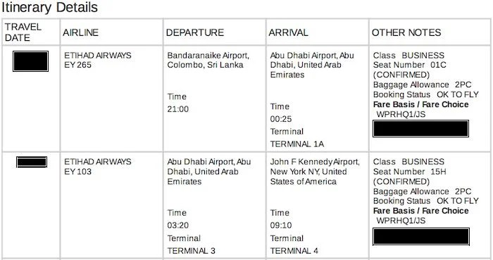 My itinerary from Colombo to New York via Abu Dhabi.