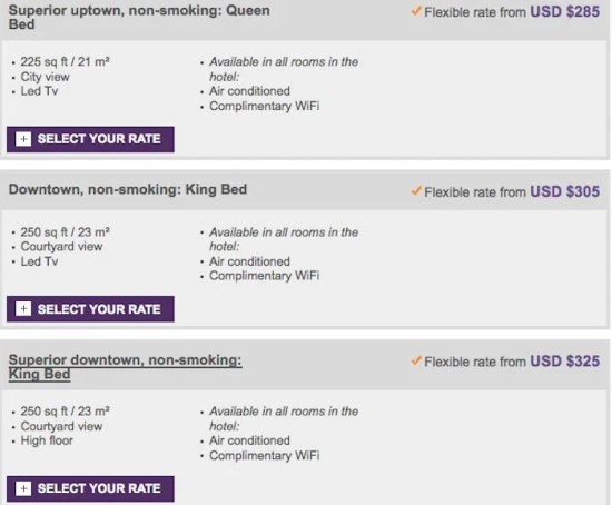 Rates for various room types on the night I wanted to book.