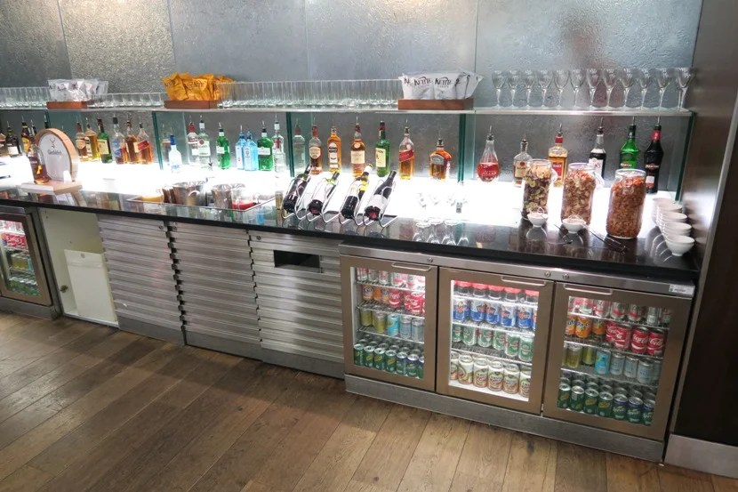 One of the self-serve bars in the British Airways Galleries Club Lounge South.