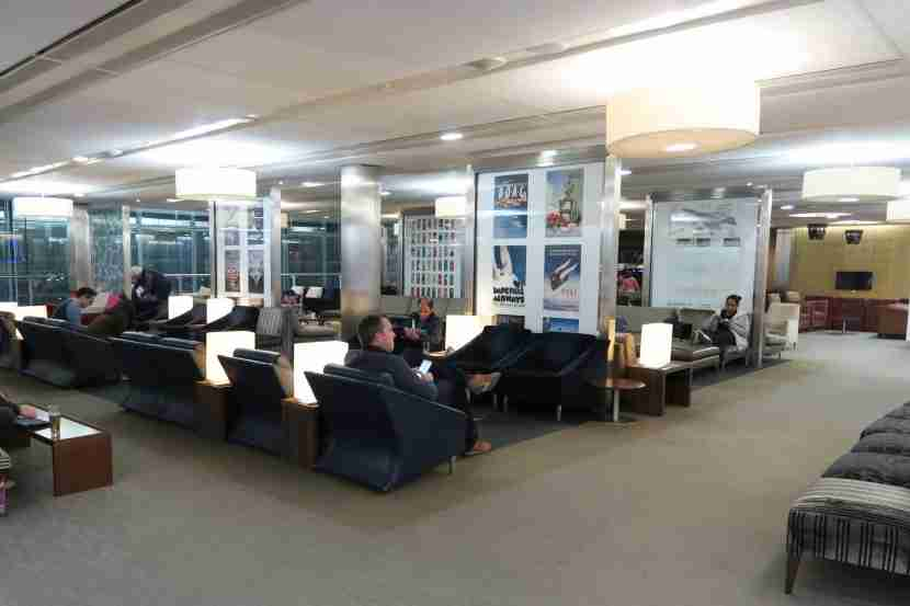 One of the many sitting areas in the British Airways Galleries Club Lounge South.