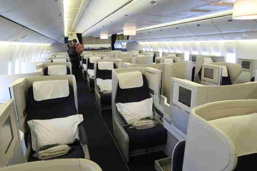 The 777-200 Club World cabin.