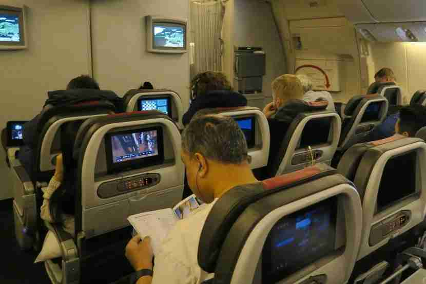 In-flight entertainment was situated in the seat backs, while screens at the front of the cabin displayed flight information.