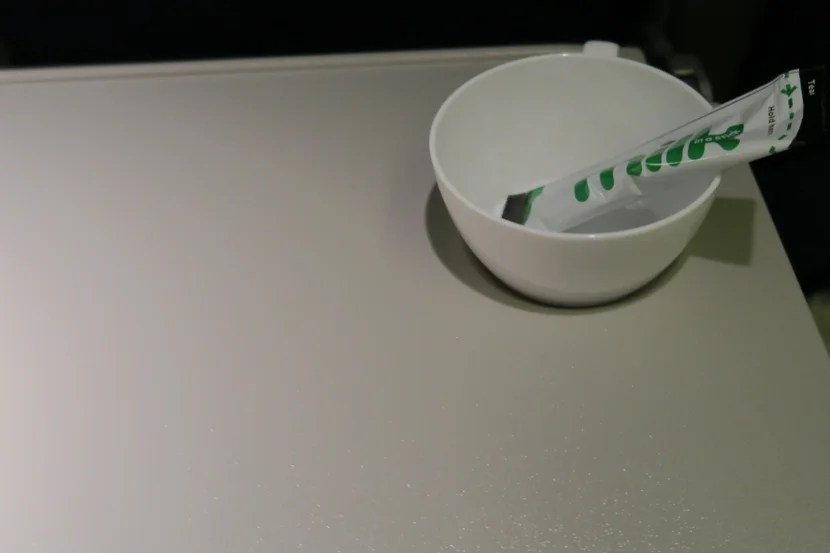Sadly, my cup remained empty as no tea or coffee was offered on this flight after dinner.