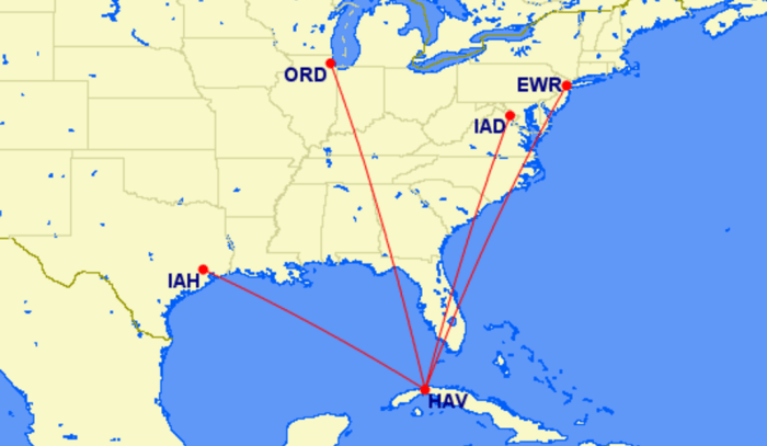 United's proposed Cuba routes.