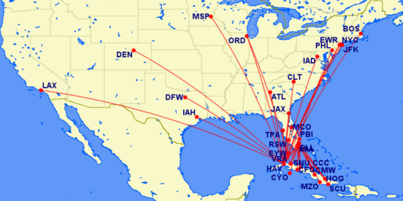 All of the proposed routes to Cuba.