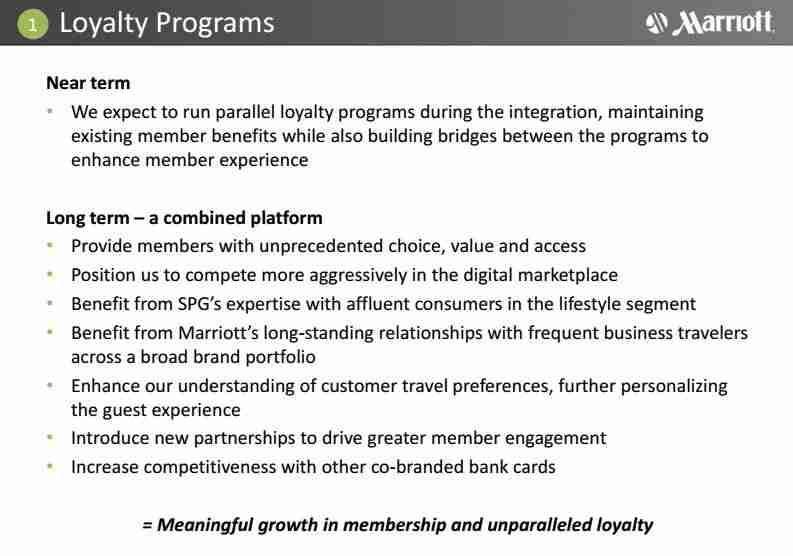 An Anbang acquisition would allow SPG to remain an independent program. Above, what Marriott plans to do with SPG if its merger goes through.
