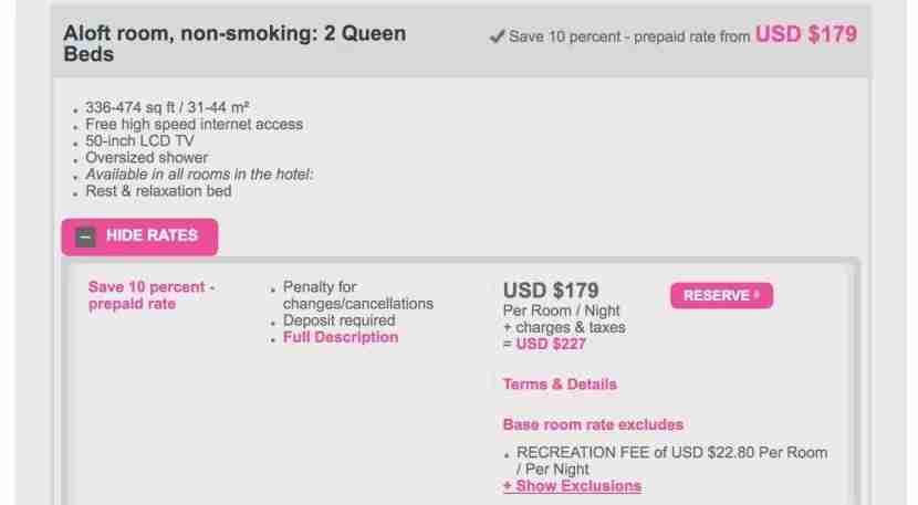 A sample booking at the Aloft South Beach.