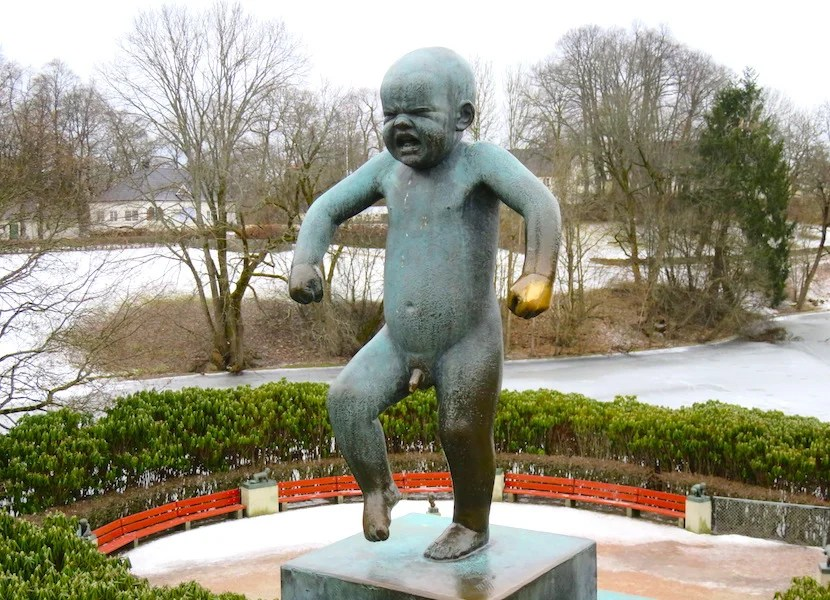 """Of the more than 200 sculptures in Vigeland Park, it's the emotionally immature """"Angry Child"""" who demands the most attention."""