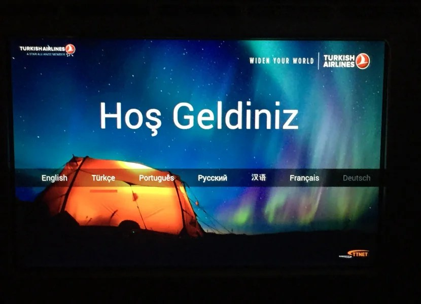 Welcome! The language selection and welcome page on Turkish Airlines' latest IFE system.