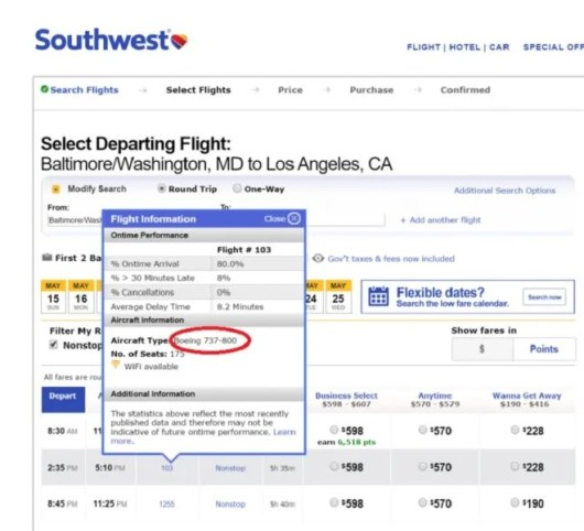 To find out which aircraft your flight uses, just click on the flight number.