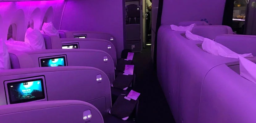 Air NZ's selection of a pearlescent moulding material for its seats means that it can dramatically change the mood of the cabin.
