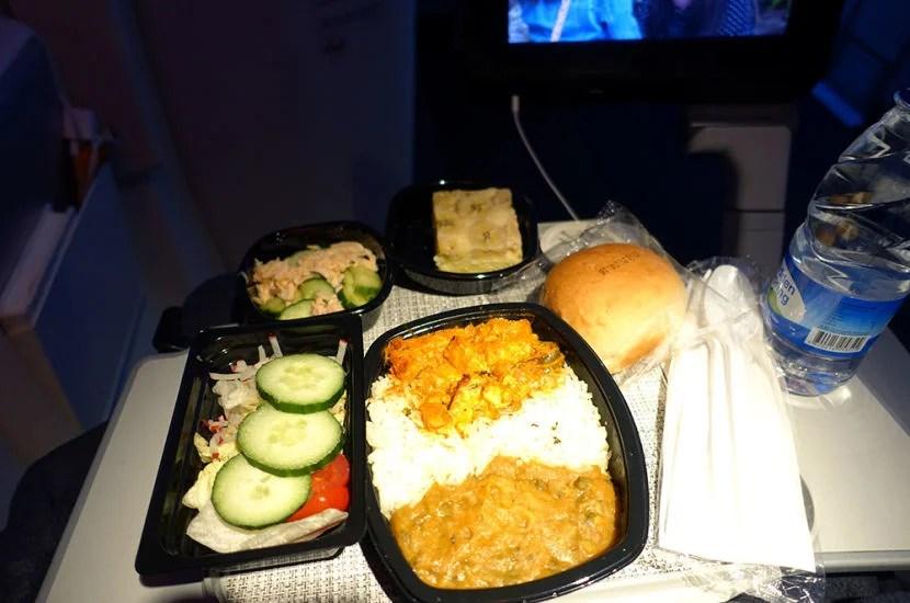 Chicken curry on the return flight.