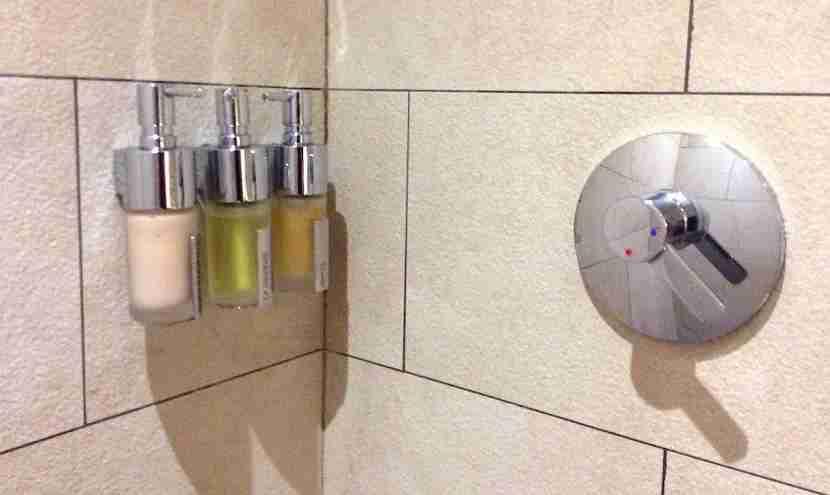 Inside the little shower.