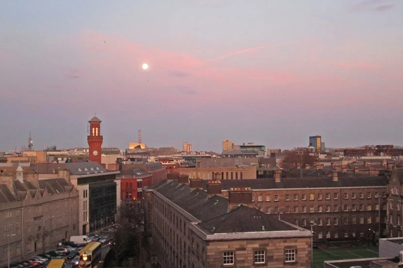 The moon over Dublin.