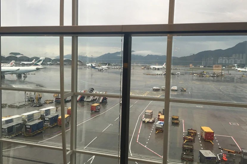 The view from my seat at the Plaza Premium Lounge at HKG.
