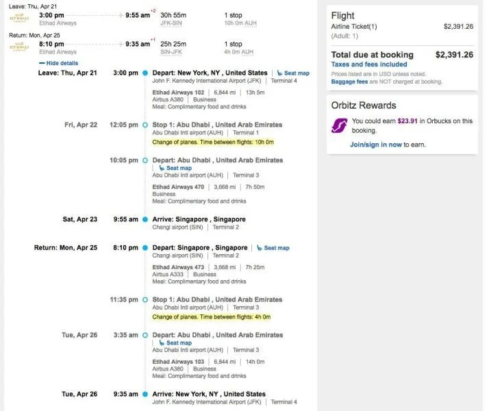 New York (JFK) to Singapore (SIN) for $2,391 round-trip in Etihad business class.