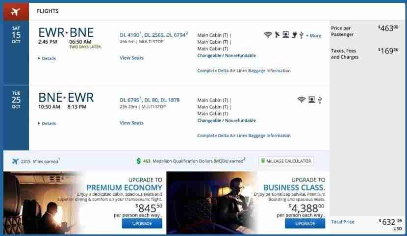 Newark (EWR) to Brisbane (BNE) for $632 on Delta.