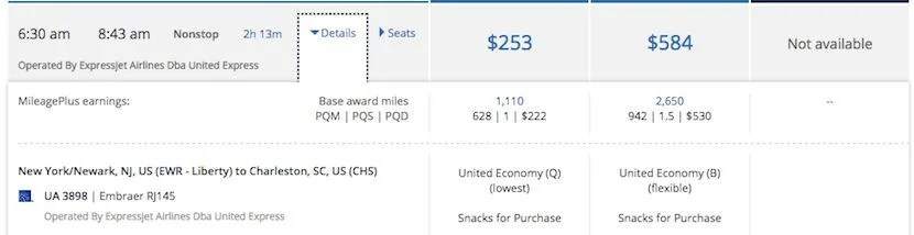 A $253 short haul flight from Newark to Charleston only costs 10,000 miles.
