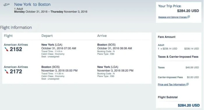 LGA to Boston for $294 on American Airlines.