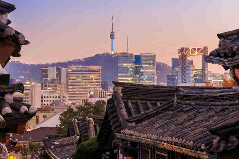 A view of Seoul from the Bukchon Hanok Village rooftops.