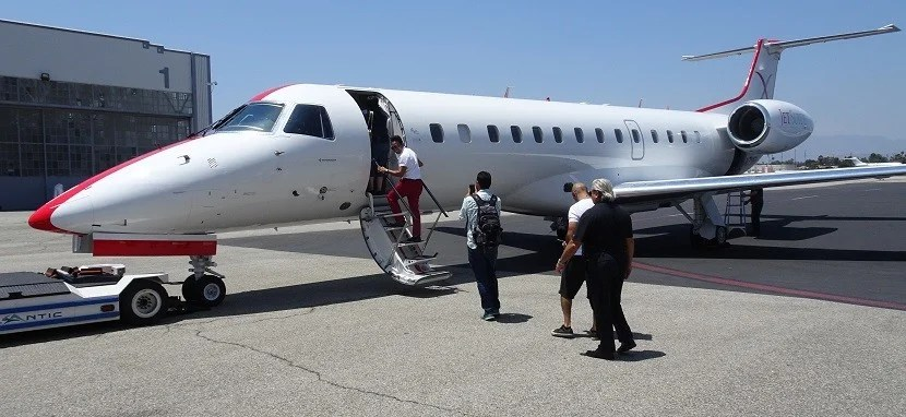 Boarding the E135 in Burbank.