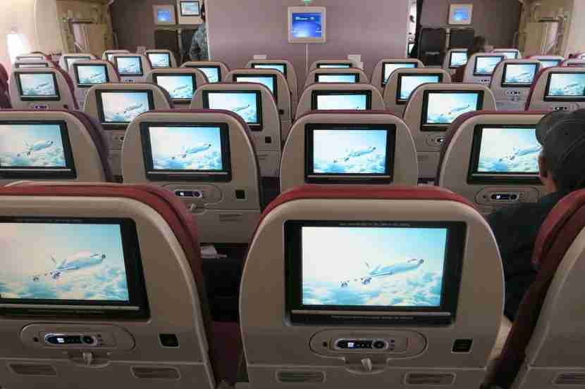 The bright IFE screens greeted passengers during boarding.
