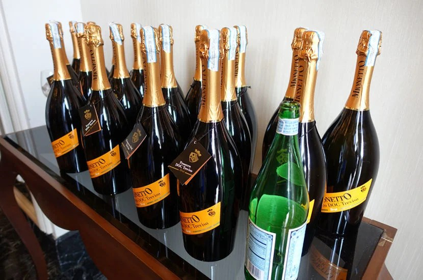 An abundance of Prosecco — and some sparkling water.