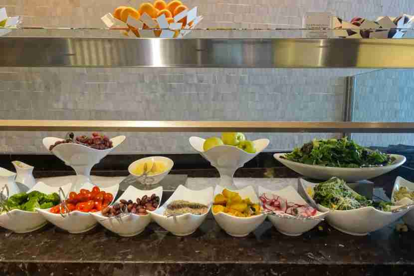 The extensive salad bar in the Centurion Lounge at LAS.