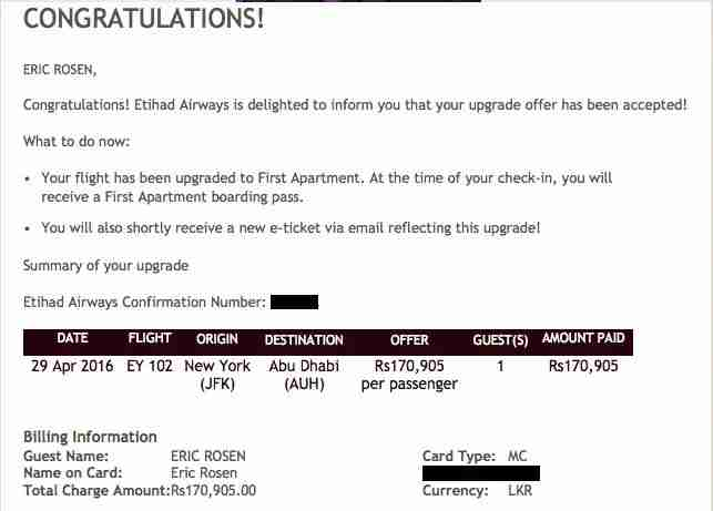 My bid to upgrade to first class was successful!