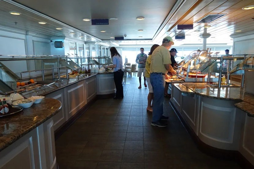 The buffet on the Adonia never got too crowded and there were plenty of places to sit.
