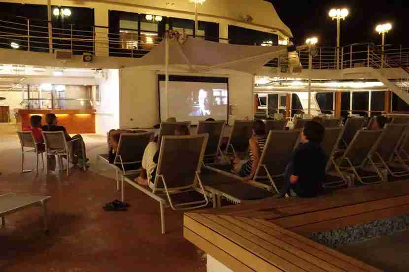 Movies under the stars onboard the Adonia.