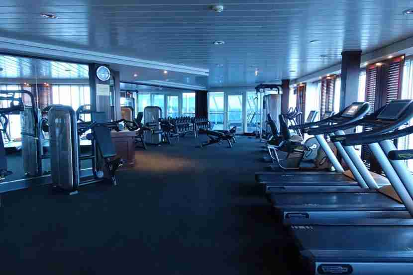 Fitness center on the Adonia.