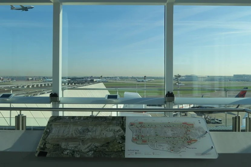 The LHR Terminal 4 viewing deck has good views, tablets displaying planes above the airfield, and binoculars.