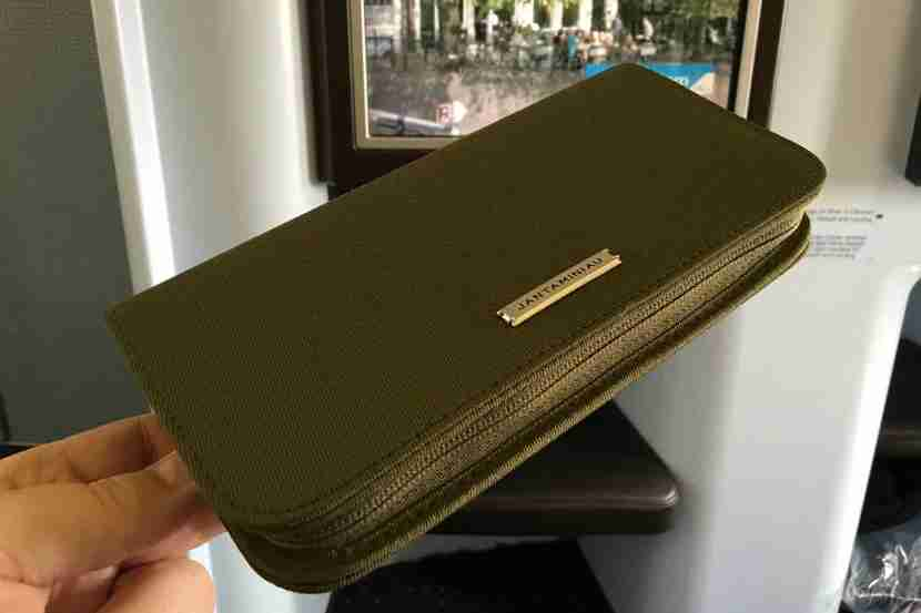 The new KLM amenity kit (green for the gents