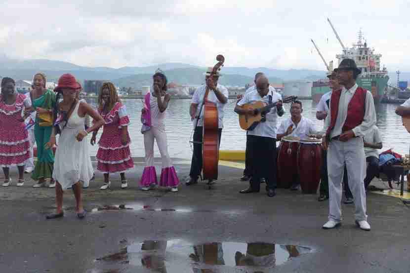 Cuban musicians and dancers greeted us at the port in Santiago de Cuba.