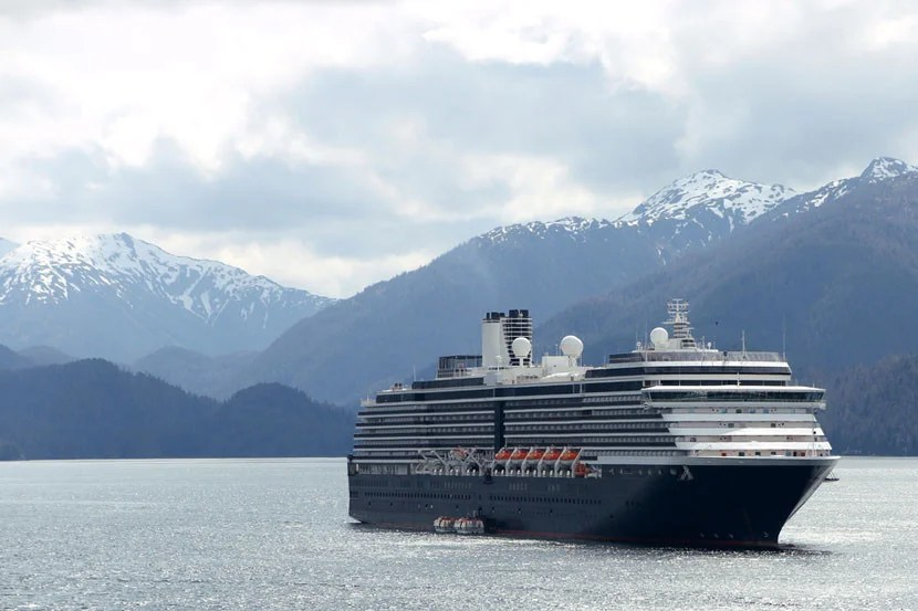 The MS Westerdam Holland America cruise ship in Sitka, Alaska.