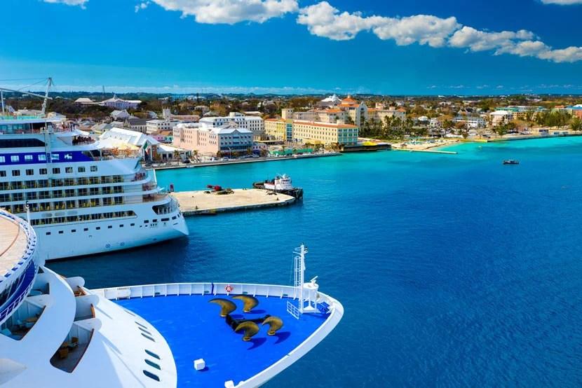 Cruise ships docked in Nassau, Bahamas. Image courtesy of Shutterstock.