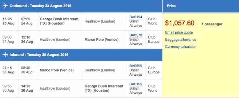 Houston (IAH) to Venice (VCE) for $1,058 round-trip in business class on British Airways.