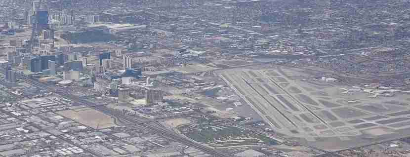 Vegas, baby! On the left, the strip; on the right, McCarran Airport. We
