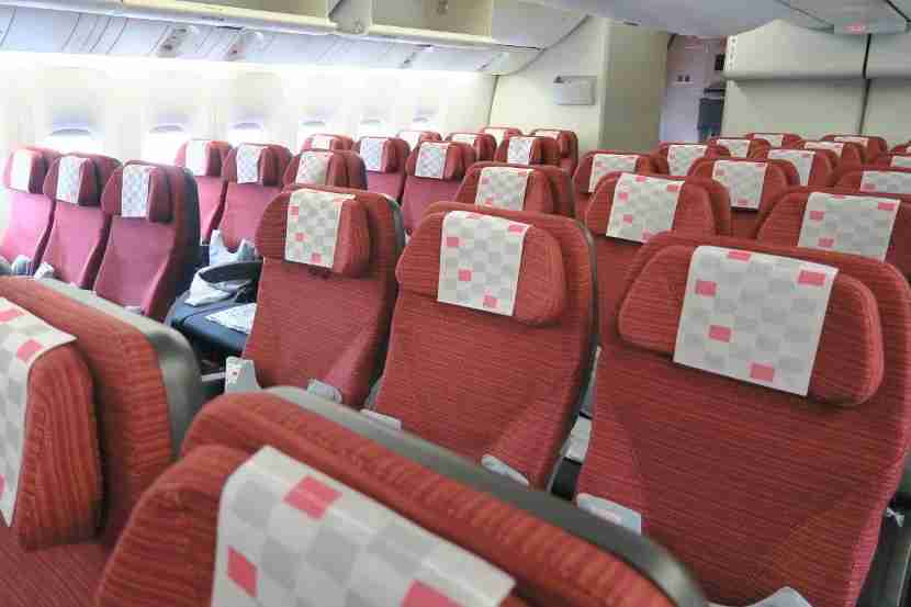 The economy cabin looked spacious and comfortable.