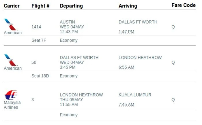 """My new itinerary took me to KUL the """"long way"""" via LHR."""